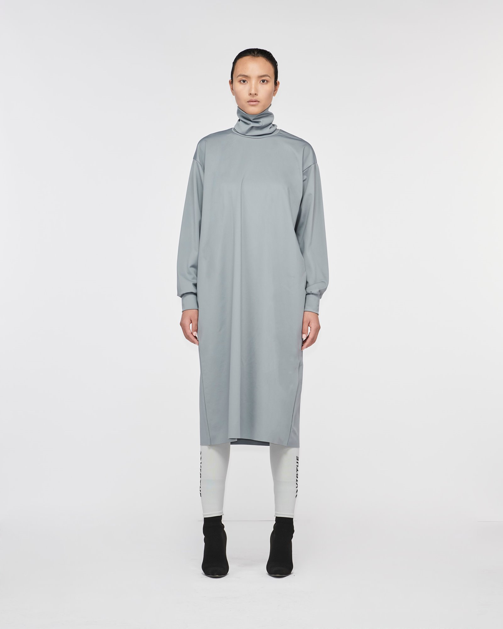 """GETTY"" TURTLE NECK DRESS GREY"