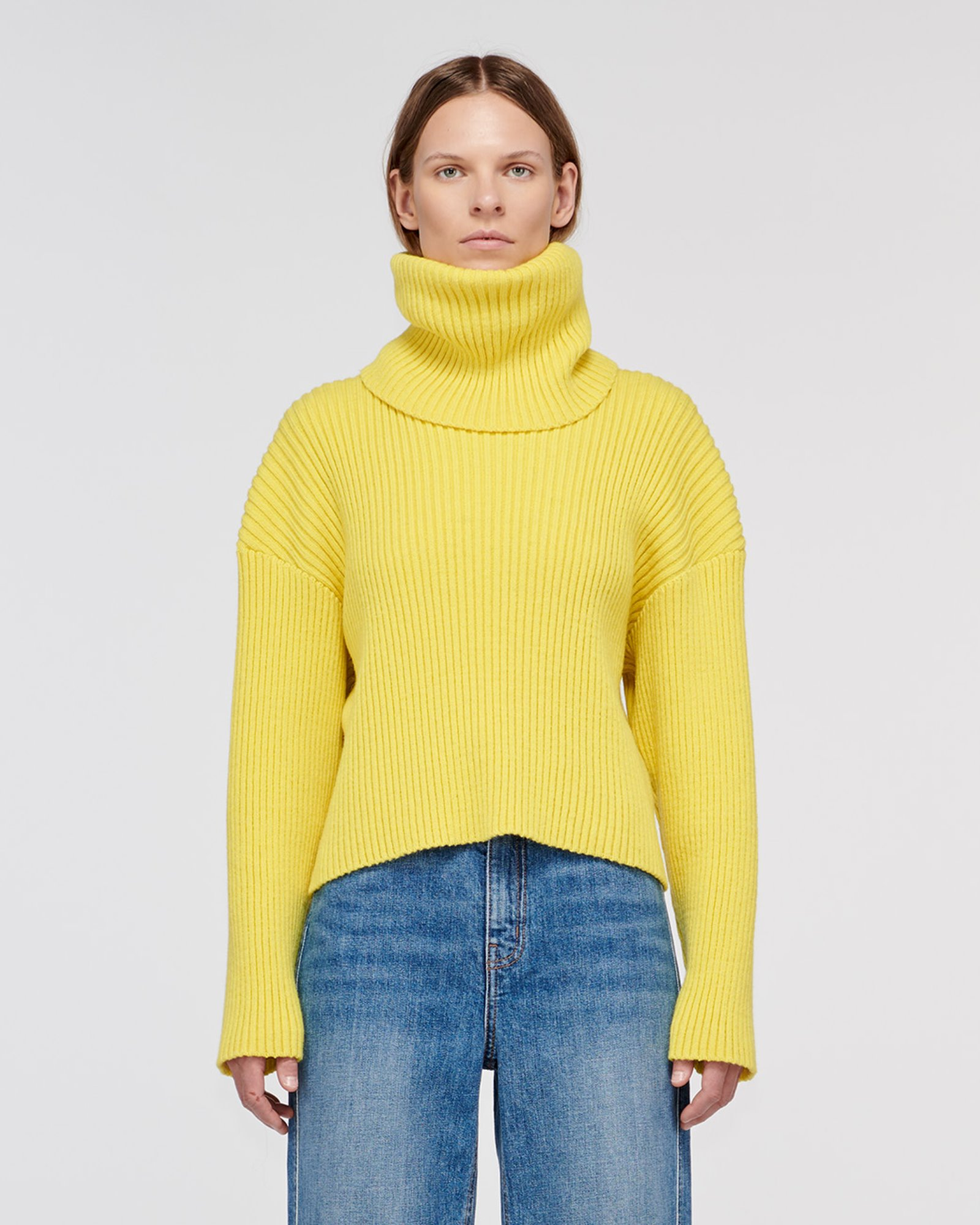 """RODEO"" CROPPED TURTLE NECK SWEATER LEMON"