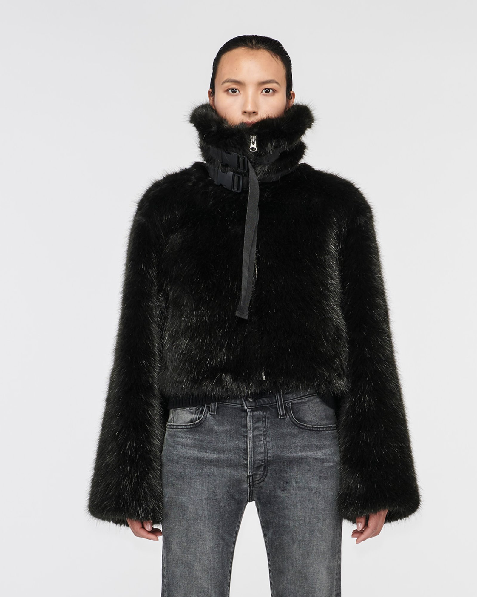 """MARMONT"" FAUX FUR JACKET BLACK"