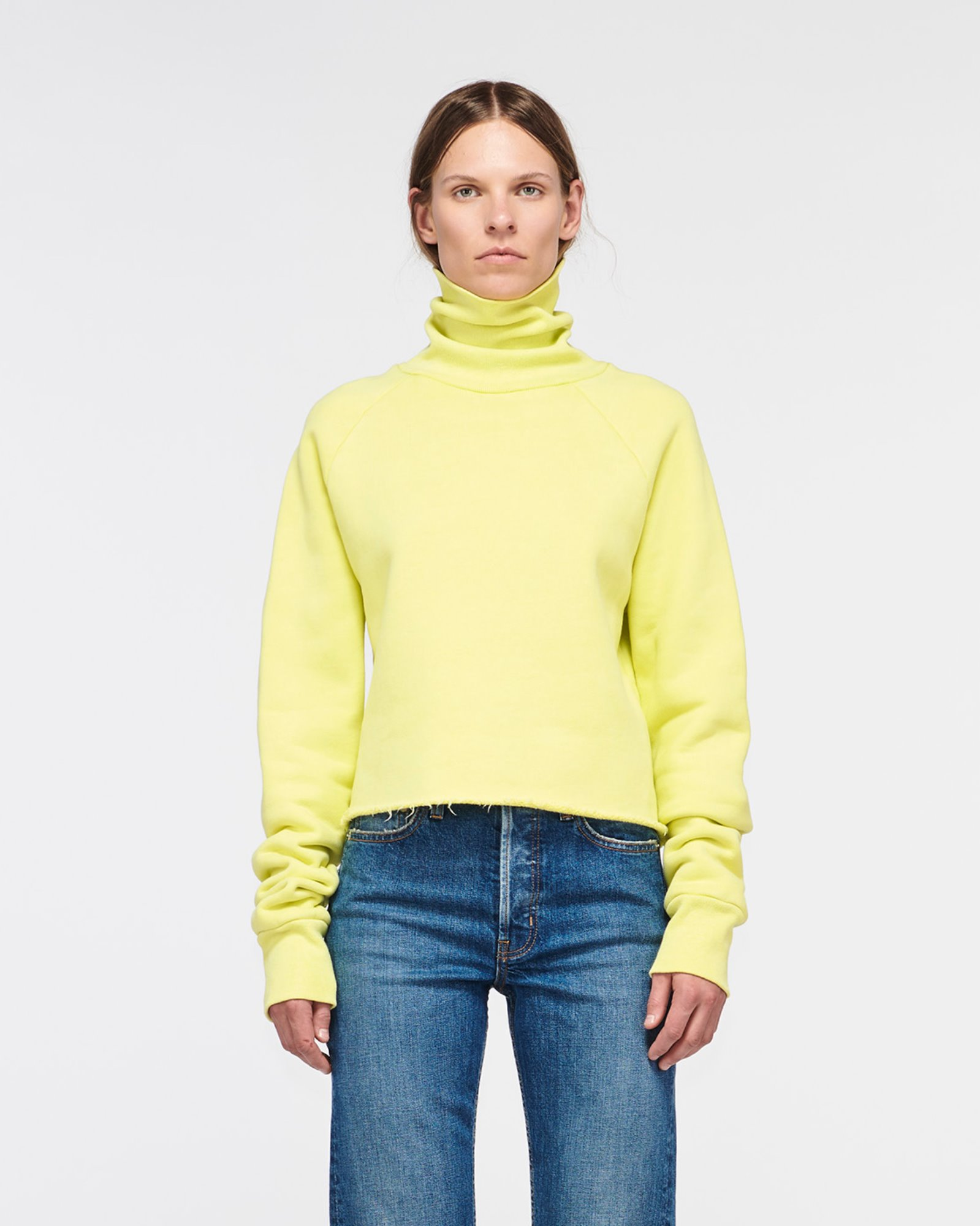 """SANTA MONICA"" CROPPED TURTLE NECK LEMON"