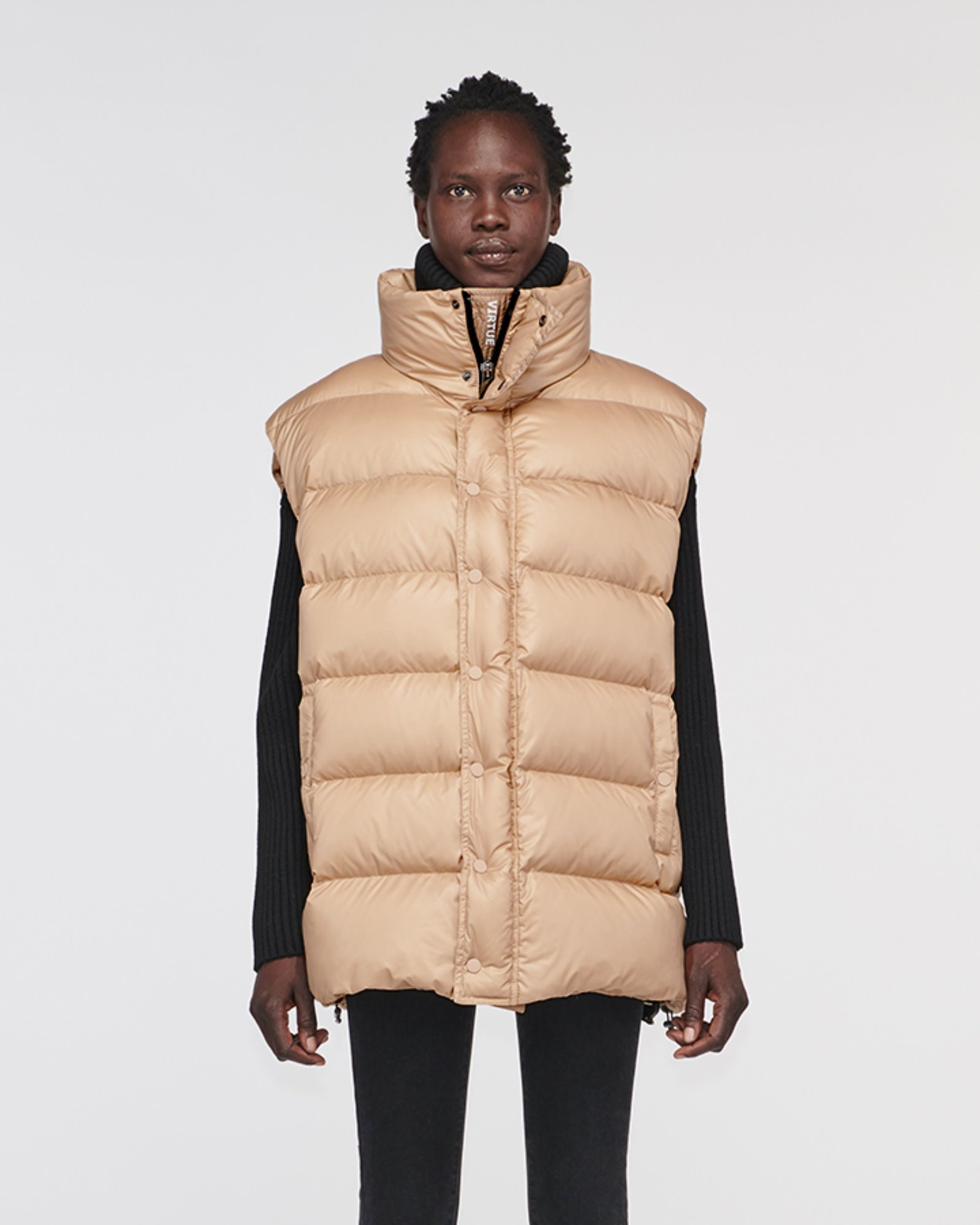 """CORRAL"" OVERSIZED DOWN VEST WOOD BROWN"